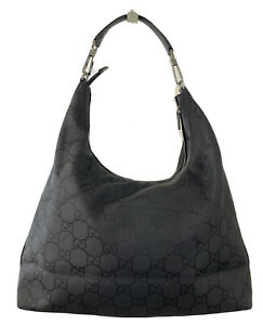 Gucci Women's GG Monogram Nylon Hobo Shoulder Bag Handbag Black