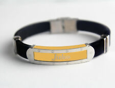 JULES - Bracelet With Name - Mens Silicone & Gold Tone Engraved - Gifts For Him