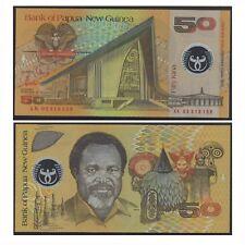 2002 Papua New Guinea Fifty 50 Kina Polymer Banknote UNC Regualr Prefix #16