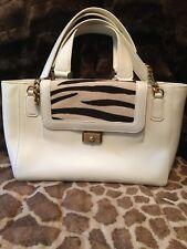 Jimmy Choo Camille WHITE Zebra-Panel Tote Bag RV $2,195.00