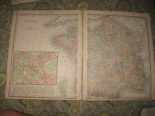 SUPERB ANTIQUE 1888 LARGE FRANCE MAP W INSET PARIS WINE AREA INTEREST REGION NR