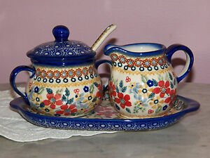 Polish Pottery Cream And Sugar 4 PC Set! UNIKAT Signature Rembrandt Pattern!