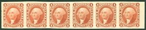 USA : 1862-71. Scott #R3P4 Superb Strip of 6 of Plate Proof on card. Cat $270+