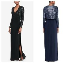 LAUREN RALPH  CHIC SURPLICE JERSEY GOWN & SEQUIN JACKET  DRESS  Sz 12 NWT $ 230
