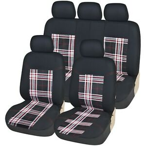 Universal Car Checked Seat Cover Set Front Rear Protection VW Golf R GTI GTD