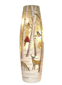 11.75'' Snowy Birds And Deer Winter Scene Lighted Vase.