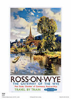 ROSS ON WYE HEREFORD  RETRO VINTAGE RAILWAY TRAVEL POSTER HOLIDAY  ADVERTISING