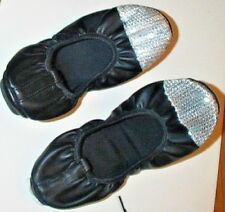 CAPELLI NY Ladies 8 Black / Silver Sparkle BALLET FLATS Shoes Faux Leather NEW