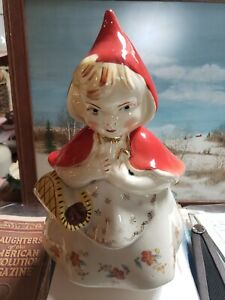 Hull Vintage 1940s Little Red Riding Hood 3 Poppy Cookie Original Jar 967