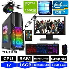 "Gaming PC Quad Core i7 Win10 GTX1650 16GB RAM 128GB SSD 1TB HDD 24"" LCD"