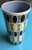 Vintage ARABIA Finland Hand Painted Vase Mid Century Modern Grey Black Yellow