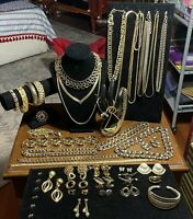Vintage Gold Tone Necklaces, Earrings, Bracelet, MONET, NAPIER, TRIFARI, OTHERS