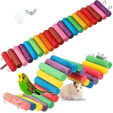 Wooden Colorful Hamster Parrot Pet Ladder Bridge Stair Gerbil Rodent Rat Toy