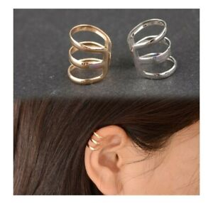 Punk Rock Triple Band Fake Ear Clip On Cuff Wrap Ear Rings Cheater Cartilage