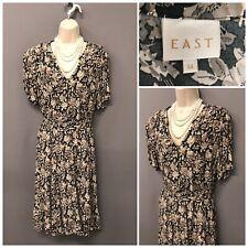 East Beige Floral Retro Dress UK 14 EUR 42