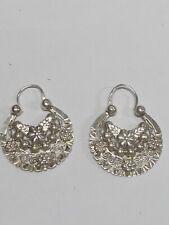 925 Sterling Silver Hoop Earrings Fancy Design 6.8 Grams