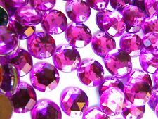 120 Purple Pink Faceted Beads Acrylic Rhinestone Gems 12 mm Round 2-hole Sew On