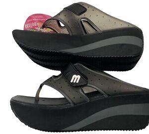 "Melissa Brazilian Black ""Grendene Rock Thong"" Wedge, Sandals, Platform Shoes 9"