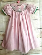 """New listing Lolly Wolly Doodle Holiday 18m Bishop dress,""""Ice Skates""""pink,smocked yoke"""