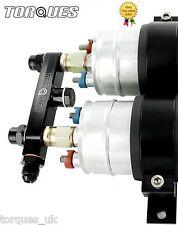 Twin Bosch 044 Fuel Pump Billet Aluminium Assembly OUTLET Manifold In Black