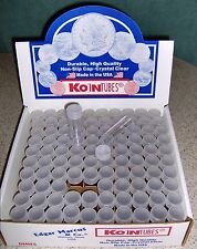100 Dime COIN TUBES - Koin brand - NEW - Screw-on Tops - Display box included