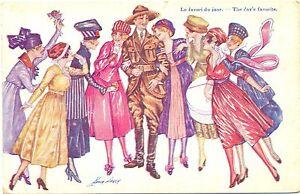 Mann in Uniform, Damen, sign. Xavier Sager, um 1915
