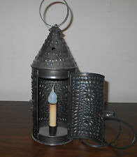 ANTIQUE PRIMITIVE REPRODUCTION PUNCHED TIN ELECTRIC LANTERN
