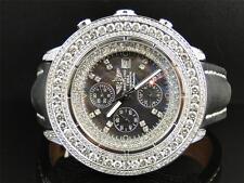 Mens 3 Row Breitling Super Avenger Aeromarine 55 MM Genuine Diamond Watch 23 Ct
