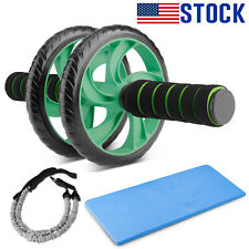 Dual Wheel Ab Roller Knee Mat Home Gym Abdominal Fitness Core Workout Exercise