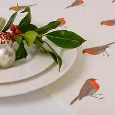 Luxurious Designer Christmas Table Runner Cotton Choice Of Lengths Vintage Robin