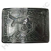 New H M Men's Scottish Kilt Belt Buckle Rampant Lion Chrome Finish Kilt Buckles