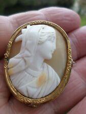 CAMÉE ANCIEN-COQUILLE-XIXe-broche-Pomponne-profil FEMME à l'antique-Napoléon III