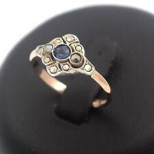 585 Gold Saphir Markasit Ring 14 Karat Gelbgold Silber Antik