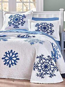 BLUE WINTER TUFTED SNOWFLAKES COTTON T/F CHENILLE BEDSPREAD & PILLOW SHAM(S) SET