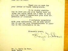 Floyd Phillips Gibbons 1931 Signed Letter WWI War Reporter Radio Commentator