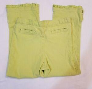 Children's Place. Girls 6x/7. Yellow-green Stretch Crop Pants. Ruffle Trim . GUC
