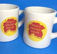 Pollys Pancake Parlor Coffee Mugs Set 2 Cups Sugar Hill NH USA Maple Leaf Logo