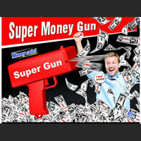 Money Gun Red Cash Cannon Super Gun Toys 100PCS Bills Pistol Toys