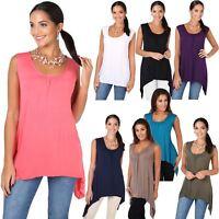 Femmes Tunique Top T-Shirt Blouse Asymétrique Sans Manche Uni Mode Tendance
