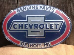 "*Embossed* 18"" x 12"" Genuine Chevy Parts Oval Metal Sign Wall Bar Garage"