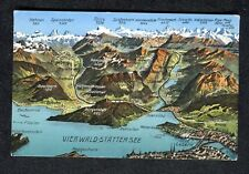 c1930s Pictorial Map of the Area around Lake Lucerne