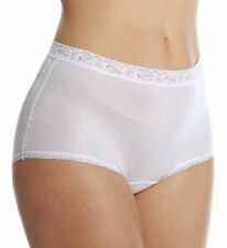 Lorraine 100% Nylon Full-Cut Lace Trim Pearl White Brief Size 6/Medium