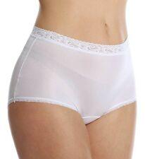 Lorraine 100% Nylon Full-Cut Lace Trim Pearl White Brief Plus Size 12/5XL