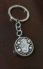 Hand of Fatima Hamsa Keyring Handbag Charm Lucky Silver Metal UK Sale Free Post