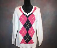 Liz Claiborne Women's Sweater Large White & Pink Argyle Long Sleeve Cotton EUC!
