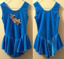 Ice Skating or Dance Dress Dannys Turquoise Blue velvet w sequins Girls 8 10 Cl