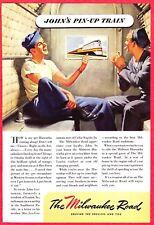 1945 WWII Ad ~ MILWAUKEE ROAD Railroad RR ~ John's Pin-up Train ~ Two Sailors