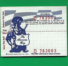 US Savings Stamp 2c SCRIP  SERIAL # 763003 to 32 REDEAMBLE FOR A10 SAVING STAMP