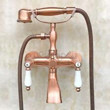 Antique Red Copper Wall Mounted Clawfoot Bath Tub Faucet w/ Hand Shower Utf806