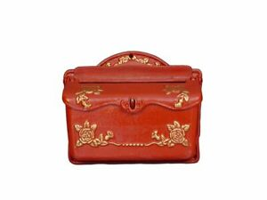 Postkasten Wandbriefkasten Vintage antik Stil Gusseisen in Rot B: 32 cm (9320)
